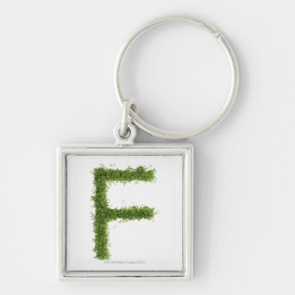 Letter 'F' in cress on white background, Key Ring