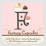 Letter F Monogram Cupcake Logo Business Stickers