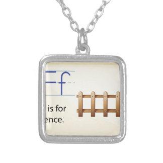 Letter F Square Pendant Necklace