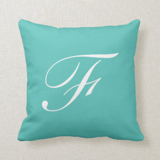 Letter F Turquoise Monogram Pillow