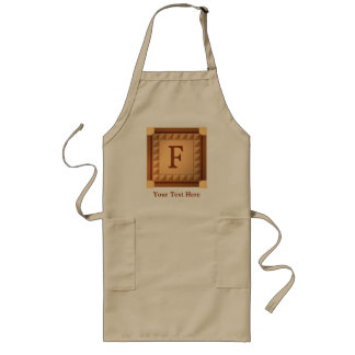 Letter F: Wood Look Initial with Custom Text Long Apron