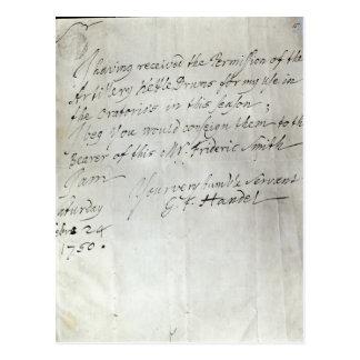Letter from George Frederick Handel Postcard