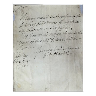 Letter from George Frederick Handel Poster