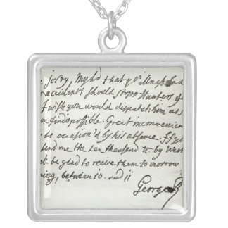 Letter from George II to the Duke of Newcastle Silver Plated Necklace
