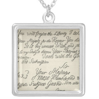 Letter from George III to his grandfather the Square Pendant Necklace