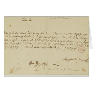Letter from Mozart to a freemason, January 1786 Greeting Card