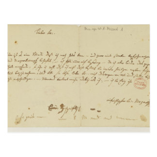 Letter from Mozart to a freemason, January 1786 Postcard