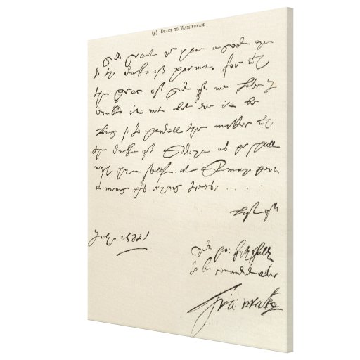 Letter from Sir Francis Drake Stretched Canvas Print