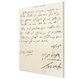 Letter from Sir Francis Drake Canvas Print
