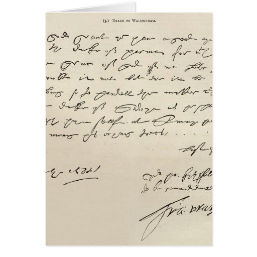 Letter from Sir Francis Drake Greeting Cards