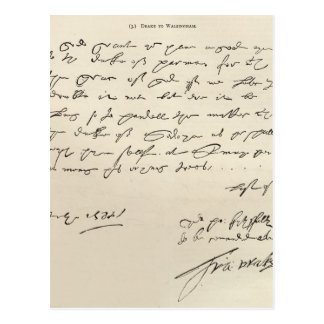 Letter from Sir Francis Drake Post Cards