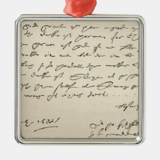 Letter from Sir Francis Drake Silver-Colored Square Decoration