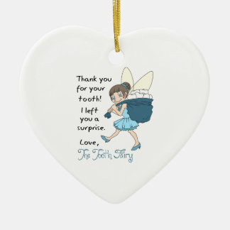 LETTER FROM TOOTH FAIRY CERAMIC HEART DECORATION