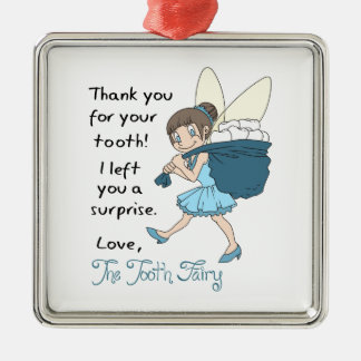 LETTER FROM TOOTH FAIRY SQUARE METAL CHRISTMAS ORNAMENT