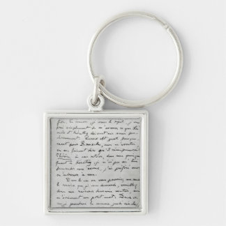Letter from Zola to Edouard Manet  1868 Silver-Colored Square Key Ring
