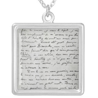 Letter from Zola to Edouard Manet  1868 Silver Plated Necklace