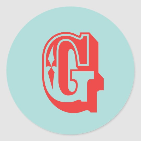 Letter G carnival style monogram initial favour Classic Round Sticker