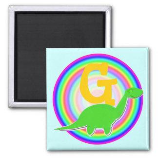 Letter G Green Dinosaur Diplodocus Fridge Magnet