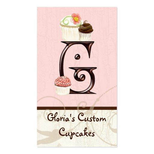 Letter G Monogram Dessert Bakery Business Cards