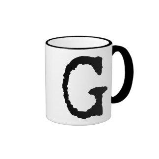 Letter G Ringer Coffee Mug