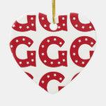 Letter G - White Stars on Dark Red Christmas Tree Ornament