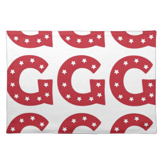 Letter G - White Stars on Dark Red Placemat