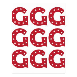 Letter G - White Stars on Dark Red Postcard