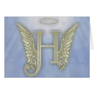 Letter H Angel Monogram Card