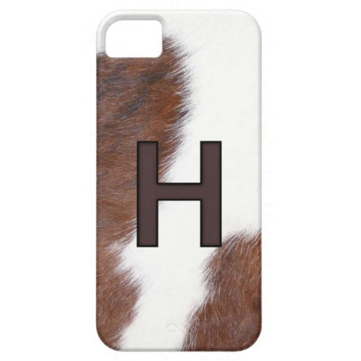 Letter H Brand on Cowhide print iphone 5 case