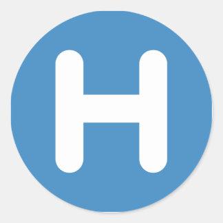 Letter H Emoji Twitter Classic Round Sticker