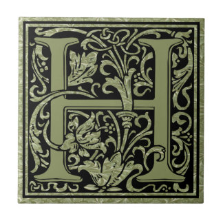 Letter H First Letter Monogram Small Square Tile