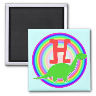 Letter H Green Dinosaur Diplodocus Fridge Magnet