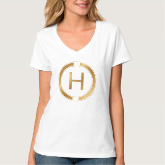 Letter H in a luxury gold design T-Shirt