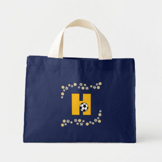 Letter H in Soccer Gold Monogram Tote Canvas Bags