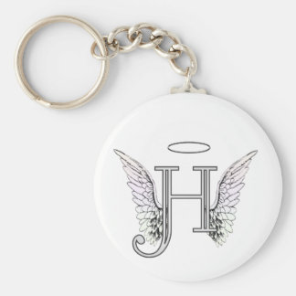 Letter H Initial Monogram with Angel Wings & Halo Basic Round Button Key Ring
