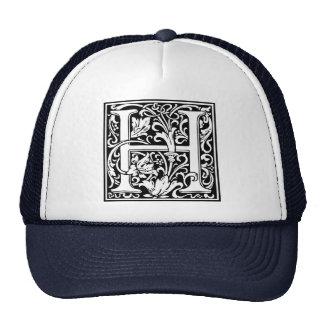 Letter H Medieval Monogram Vintage Initial Trucker Hat