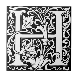 Letter H Medieval Monogram Vintage Initial Small Square Tile