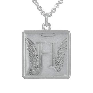 Letter H Memorial Monogram Square Pendant Necklace