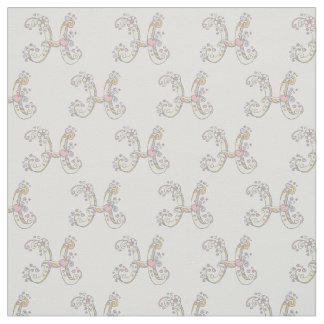 Letter H monogram decorative text custom fabric