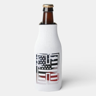 Letter H Monogram Initial Patriotic USA Flag Bottle Cooler