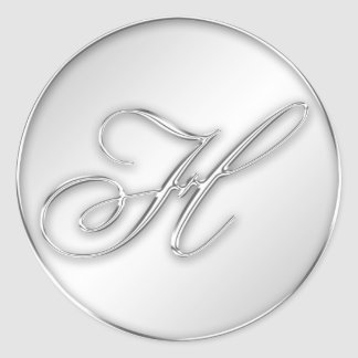 Letter H script initial faux silver monogram favor Round Sticker