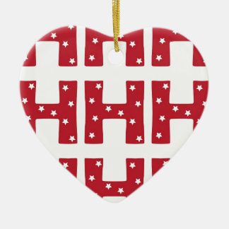 Letter H - White Stars on Dark Red Ceramic Heart Decoration