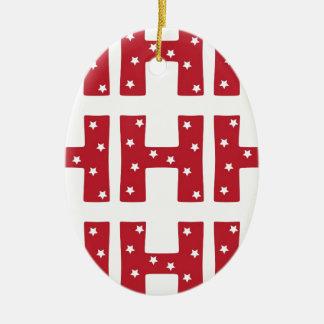 Letter H - White Stars on Dark Red Christmas Ornament