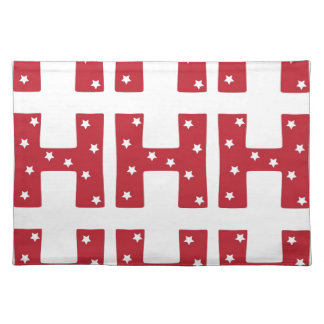 Letter H - White Stars on Dark Red Placemat