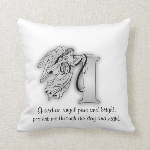 Letter I angel monogram alphabet initial Throw Pillows