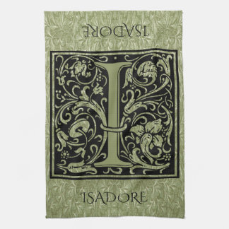Letter I First Letter Monogram Personalized Tea Towel