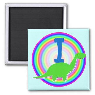 Letter I Green Dinosaur Diplodocus Fridge Magnet