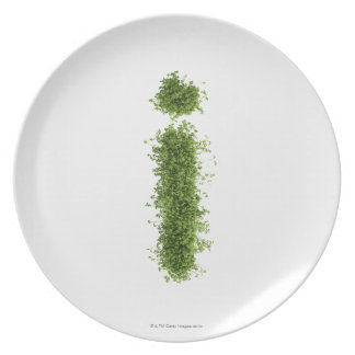 Letter 'i' in cress on white background, plate