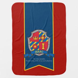 Letter I Isaac custom crest name meaning blanket Swaddle Blankets
