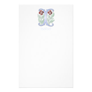 Letter I Monogram Fleur de lis Customized Stationery